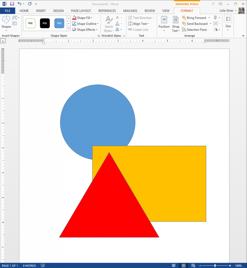 Shapes in Word 2013